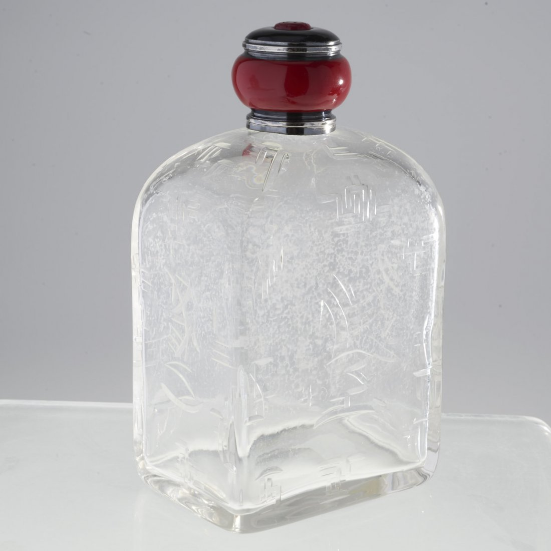 French Art Deco silver, glass perfume bottle - 3