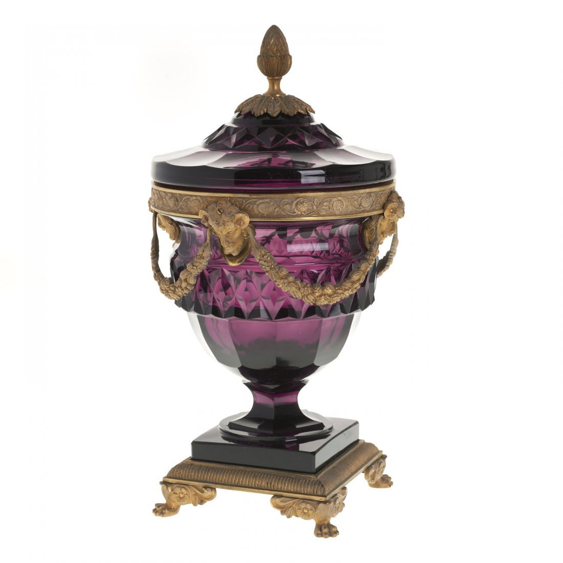 Continental bronze mounted glass urn and cover