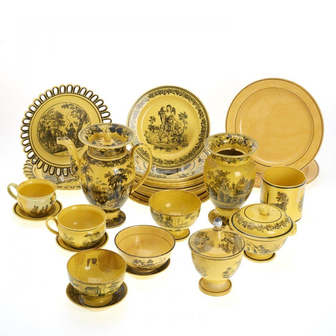 Assembled antique Creil yellow dinner service