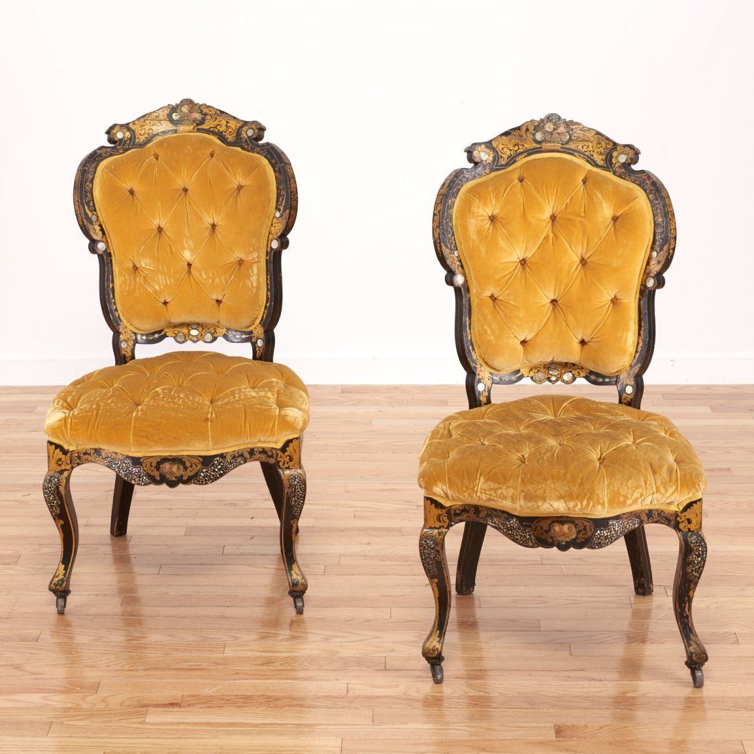 Pair Victorian inlaid, ebonized side chairs