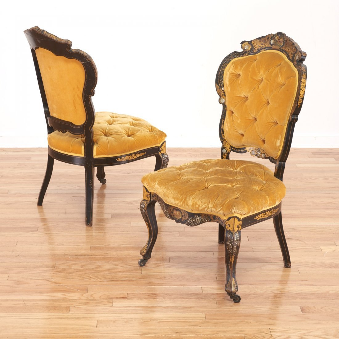 Pair Victorian inlaid, ebonized side chairs - 2