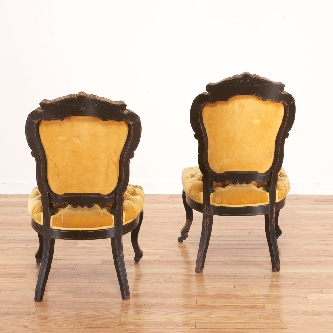 Pair Victorian inlaid, ebonized side chairs - 3