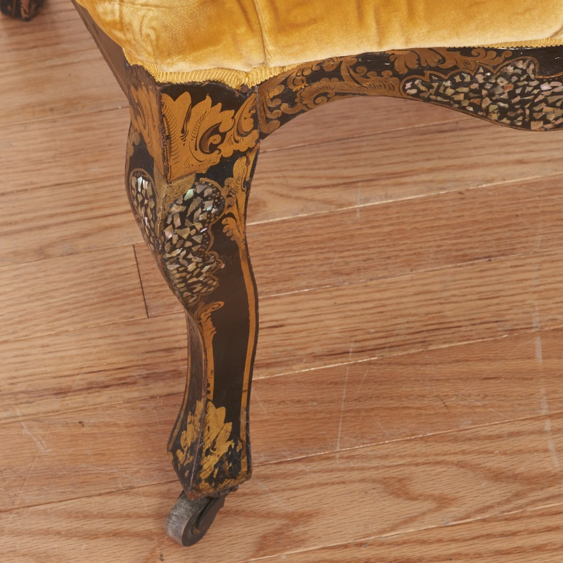 Pair Victorian inlaid, ebonized side chairs - 5