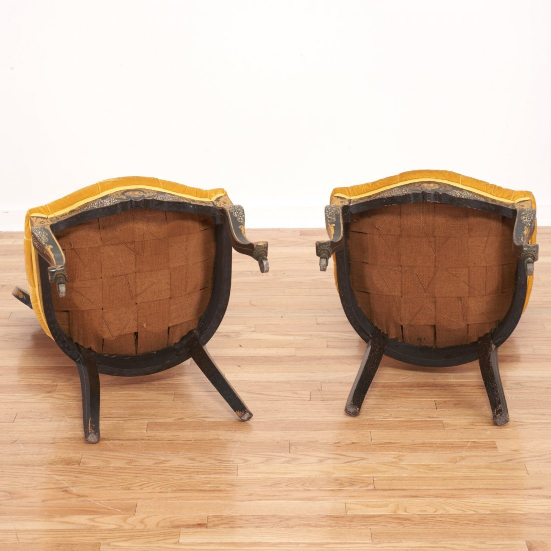 Pair Victorian inlaid, ebonized side chairs - 9