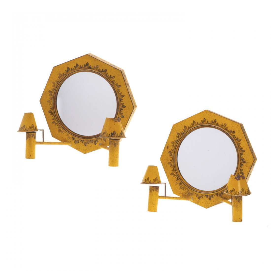 Pair French yellow tole mirrored sconces