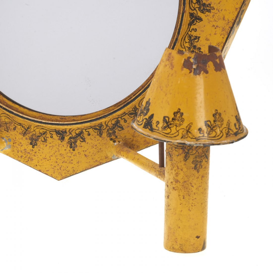 Pair French yellow tole mirrored sconces - 2