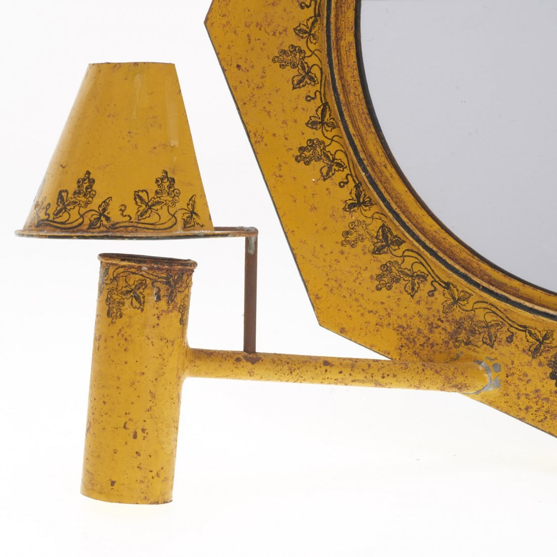 Pair French yellow tole mirrored sconces - 3