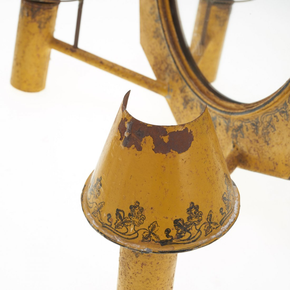Pair French yellow tole mirrored sconces - 6