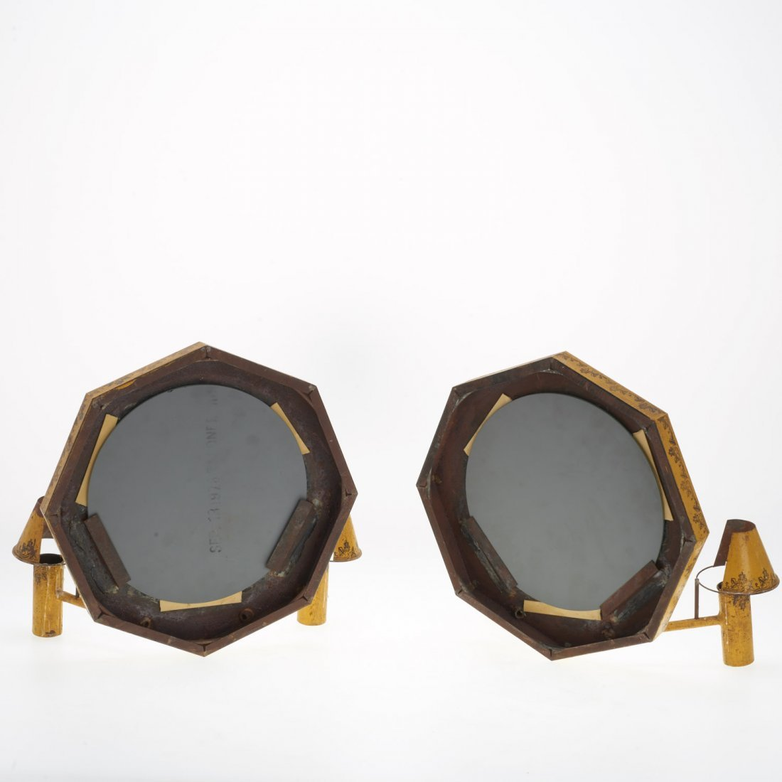 Pair French yellow tole mirrored sconces - 7