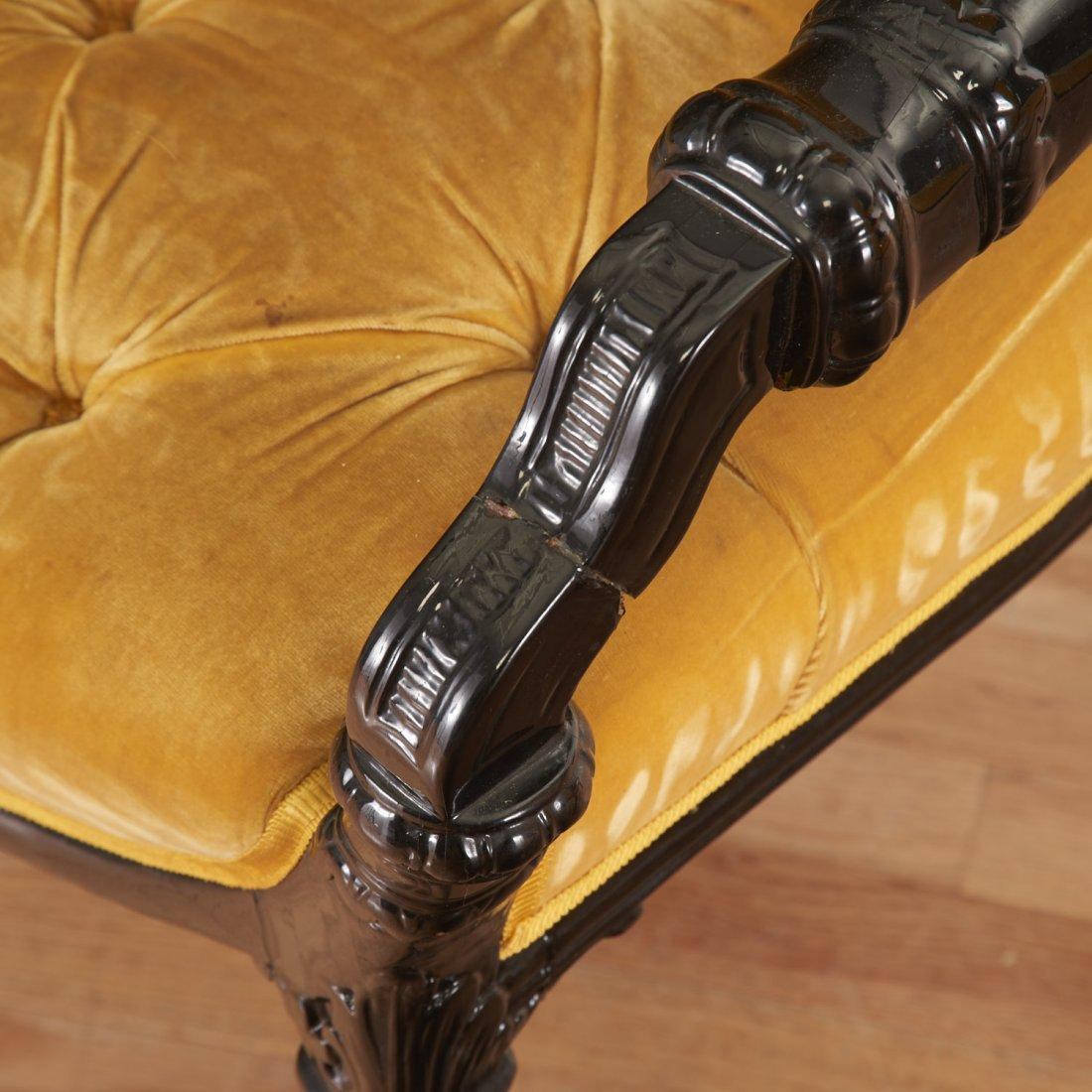 Pair Victorian style ebonized open armchairs - 2