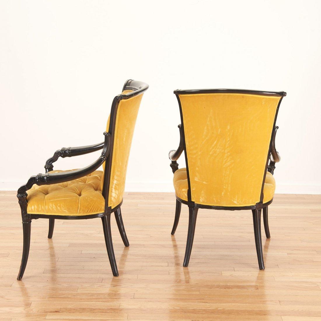 Pair Victorian style ebonized open armchairs - 4