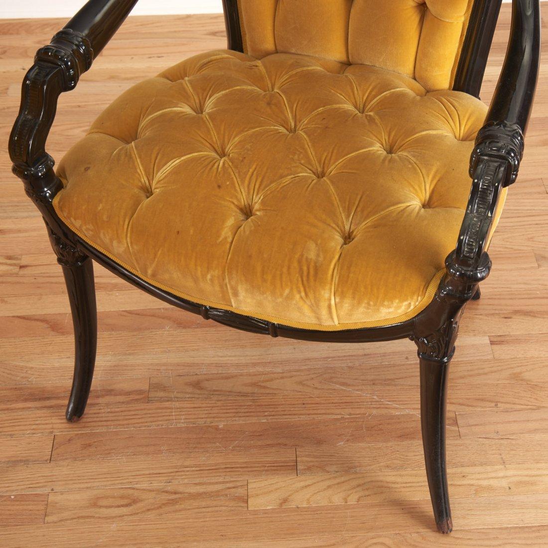 Pair Victorian style ebonized open armchairs - 5