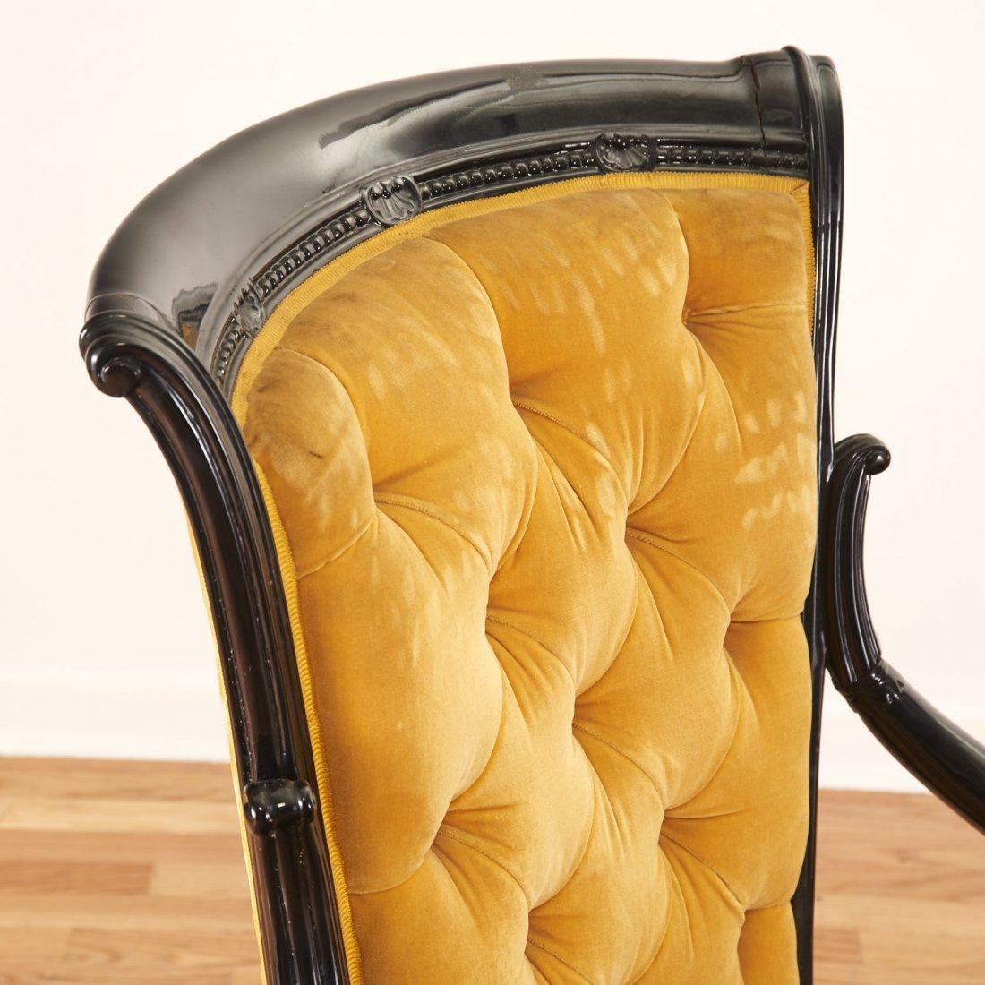 Pair Victorian style ebonized open armchairs - 6
