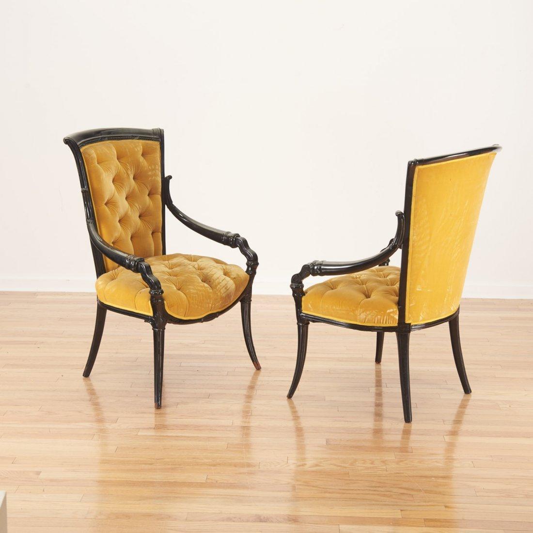 Pair Victorian style ebonized open armchairs - 7
