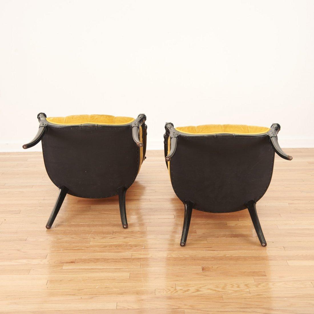 Pair Victorian style ebonized open armchairs - 9