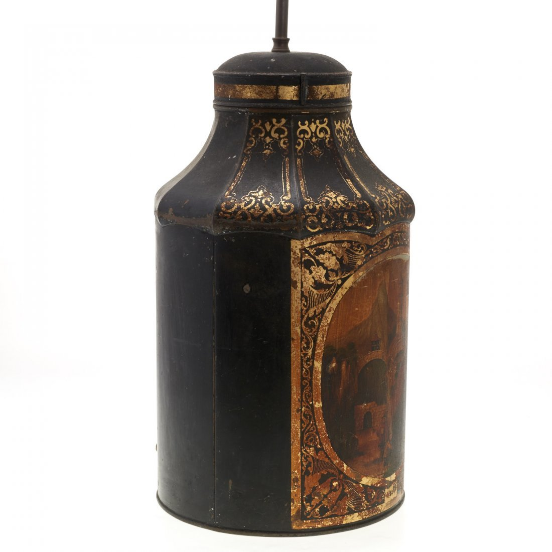 Antique English tole tea canister lamp - 4