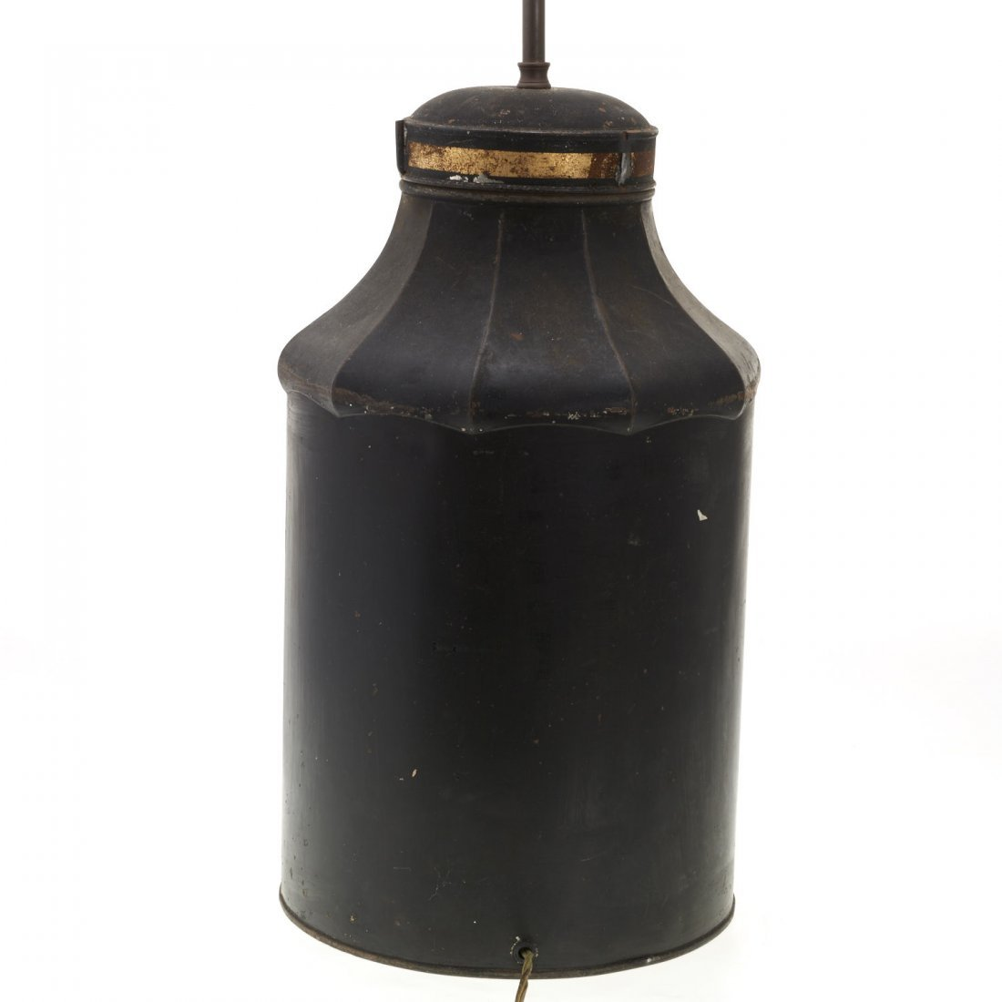 Antique English tole tea canister lamp - 5