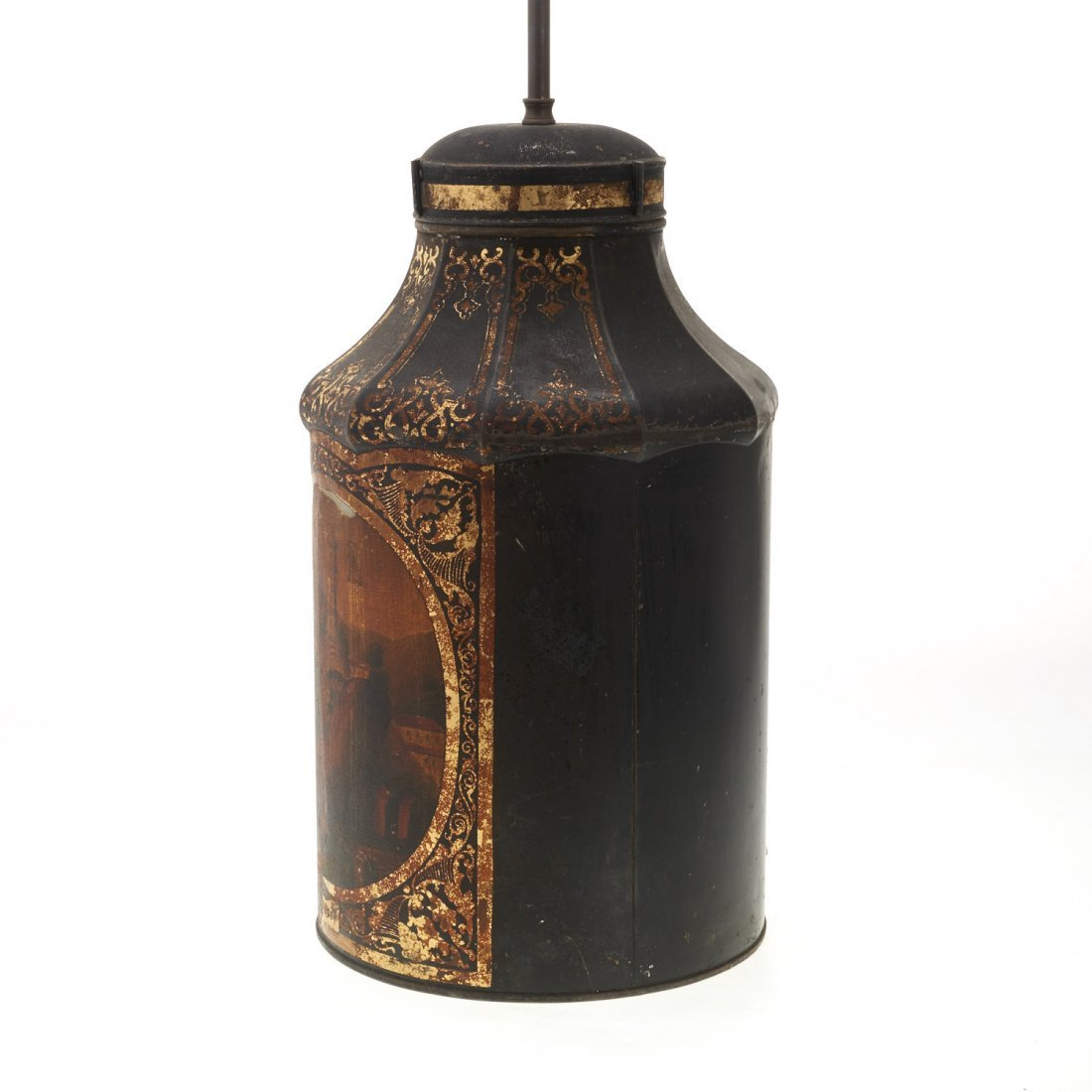 Antique English tole tea canister lamp - 6