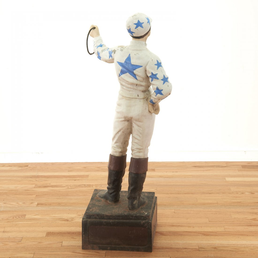 "Antique cast metal ""horse racing"" lawn jockey - 6"