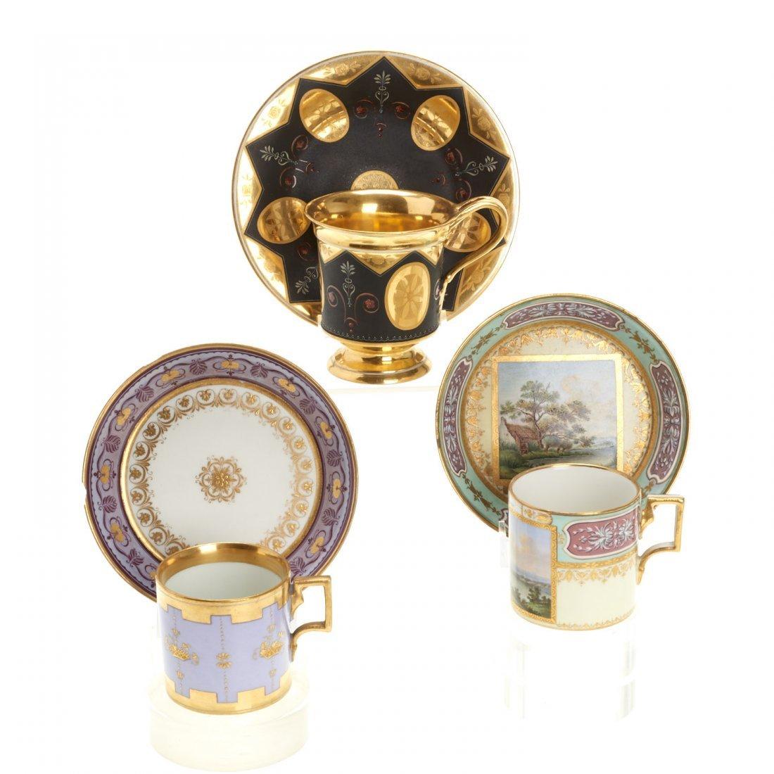 (3) Royal Vienna porcelain teacups/saucers