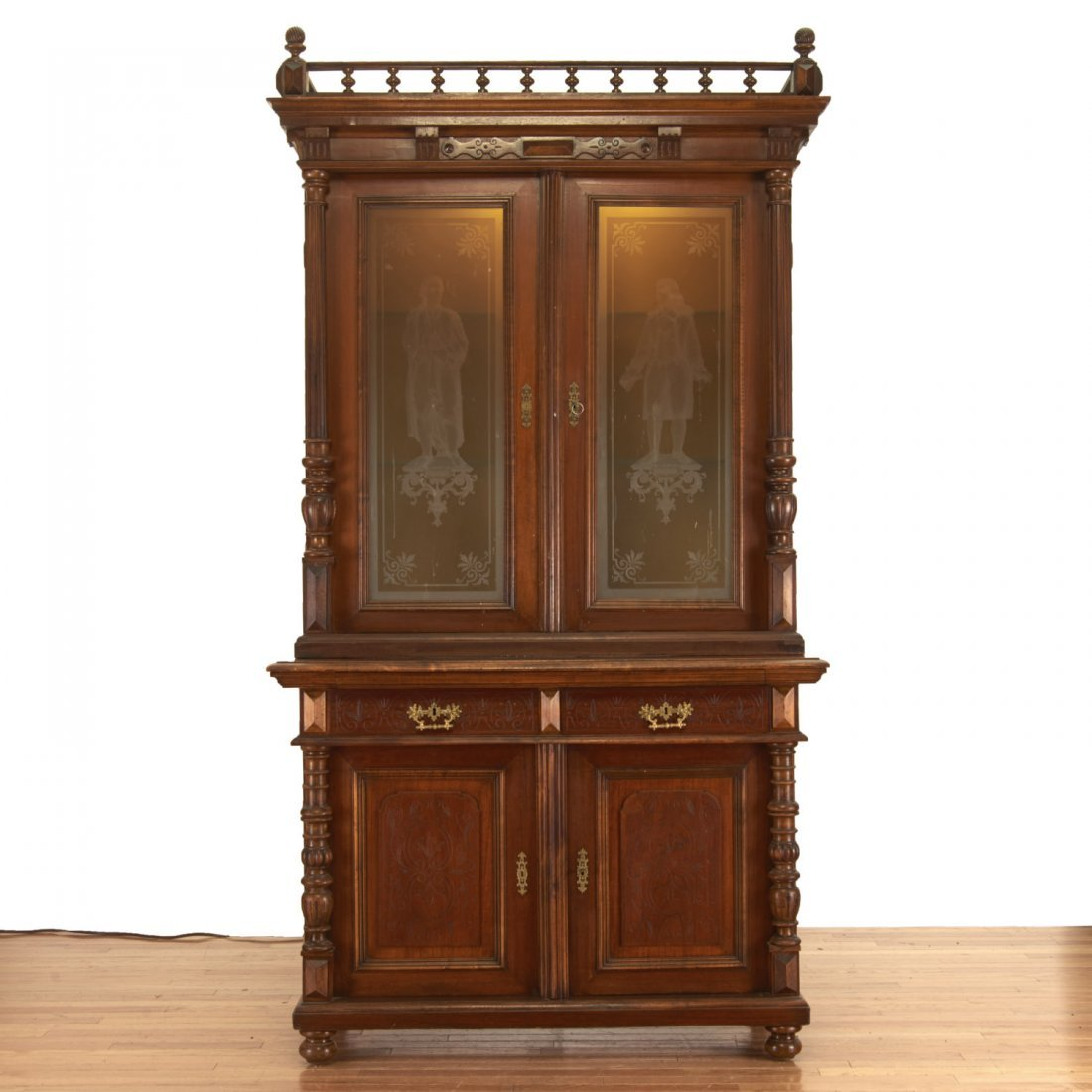 German Jacobean style mahogany bookcase cabinet