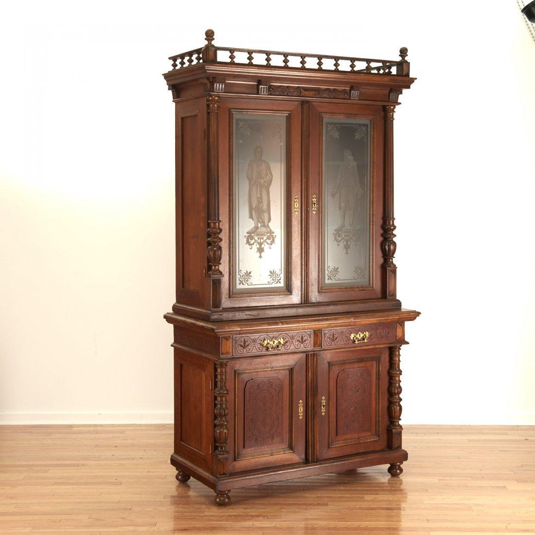 German Jacobean style mahogany bookcase cabinet - 2