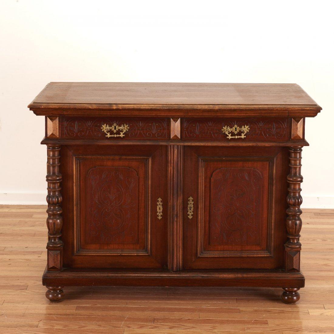German Jacobean style mahogany bookcase cabinet - 3
