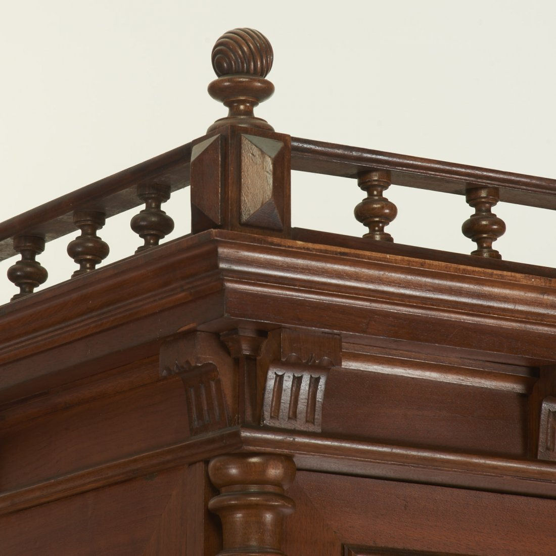 German Jacobean style mahogany bookcase cabinet - 4