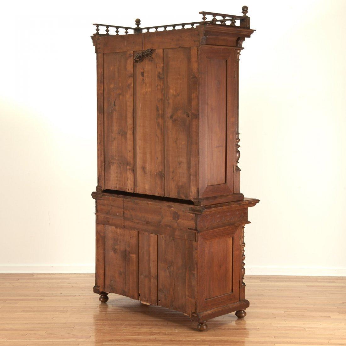 German Jacobean style mahogany bookcase cabinet - 9