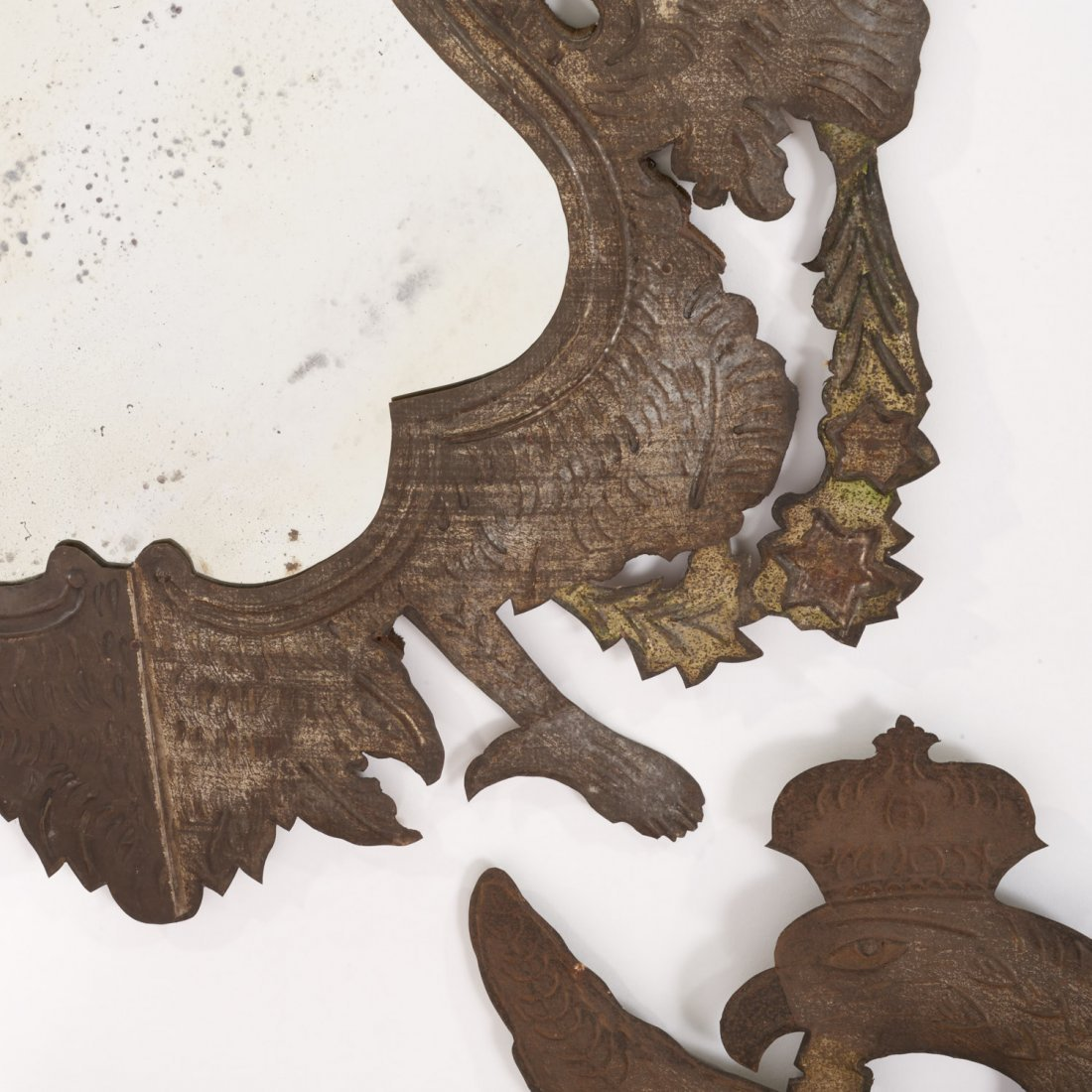 Pr Spanish Colonial style gilt metal wall mirrors - 3