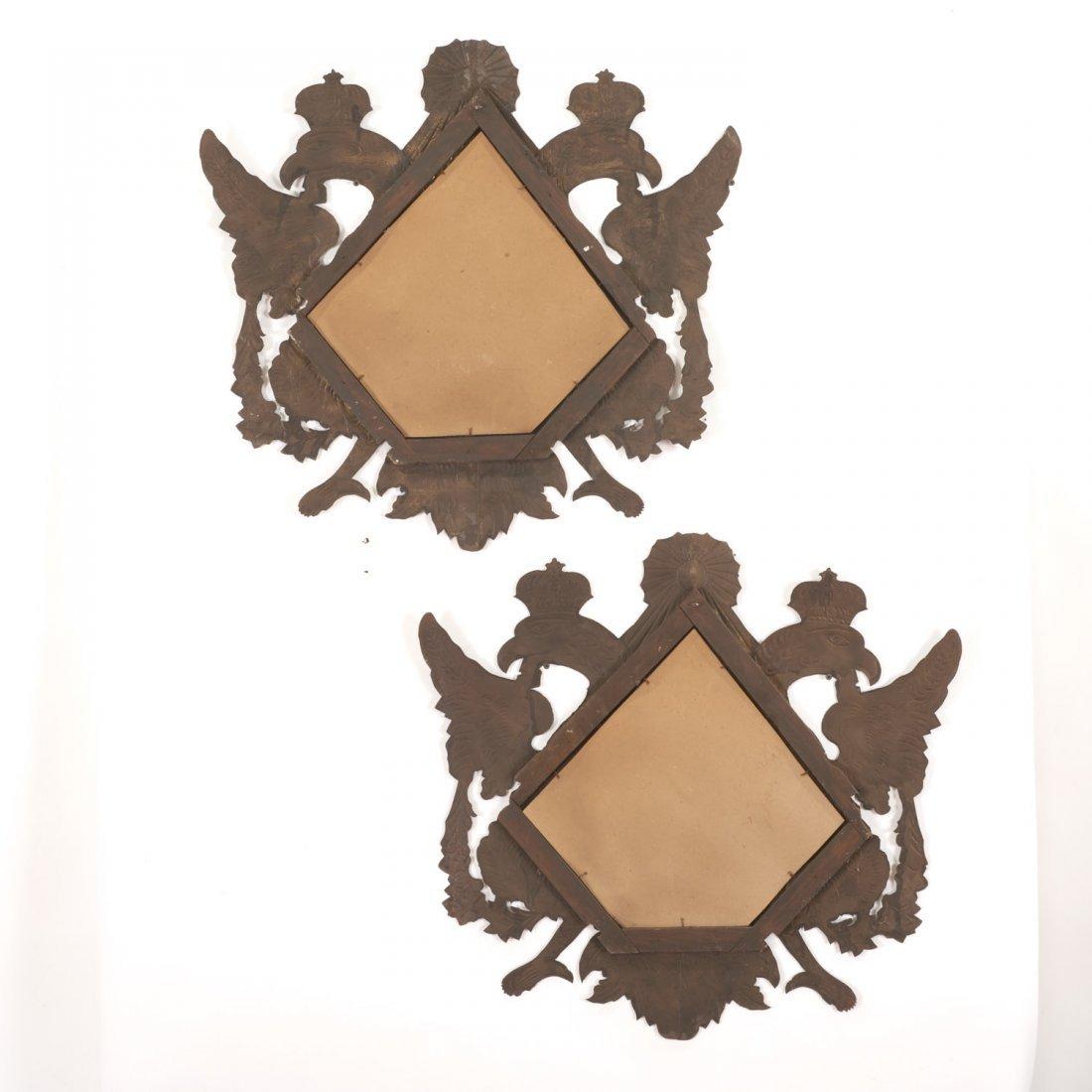 Pr Spanish Colonial style gilt metal wall mirrors - 9
