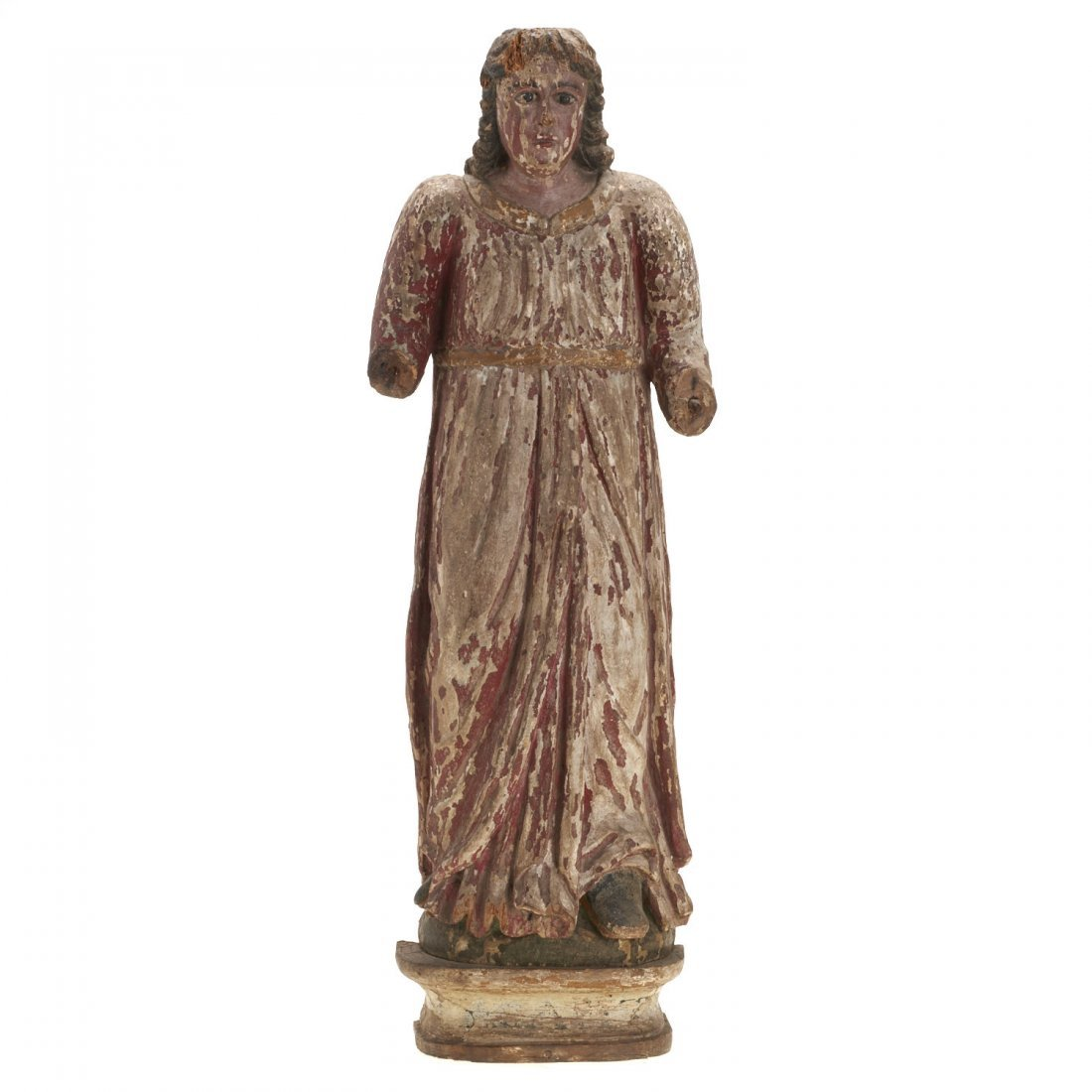 Continental polychrome carved wood Madonna