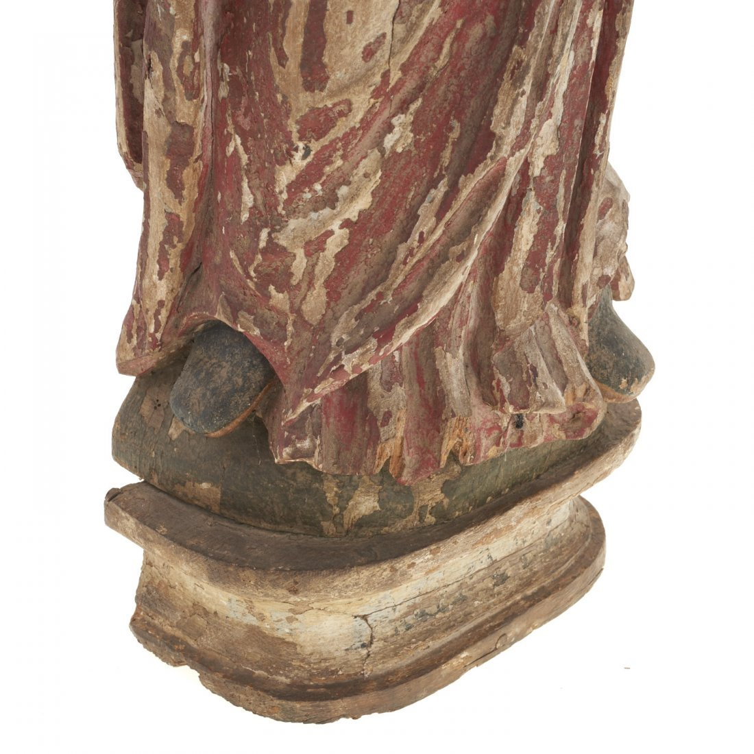 Continental polychrome carved wood Madonna - 2
