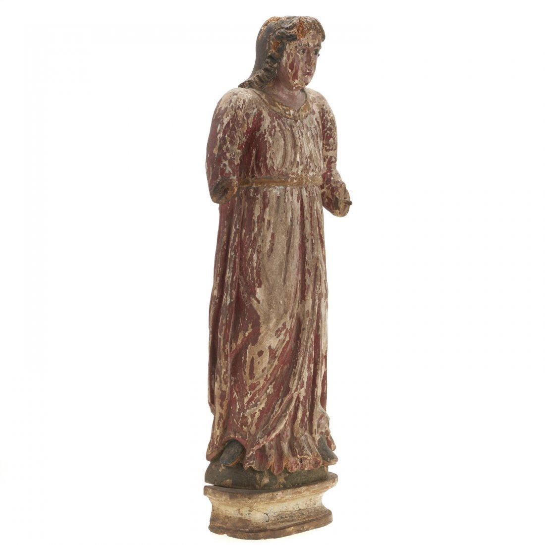 Continental polychrome carved wood Madonna - 3