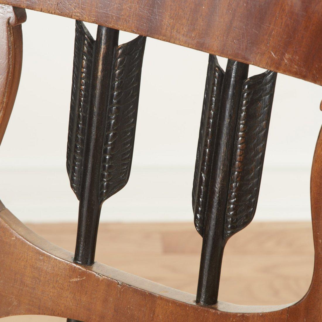 Pair Empire style parcel ebonized walnut armchairs - 5