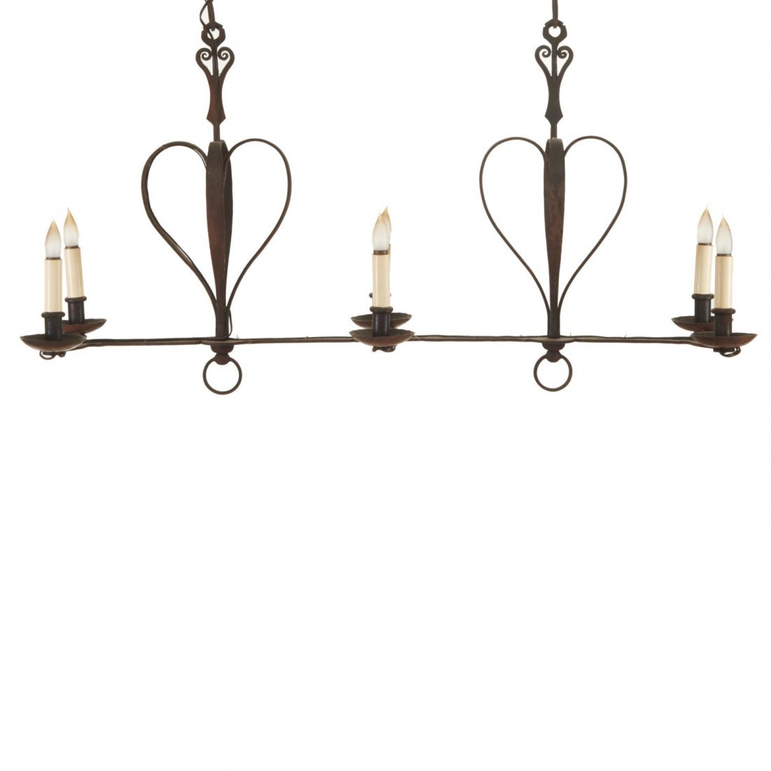French Provincial style wrought iron chandelier