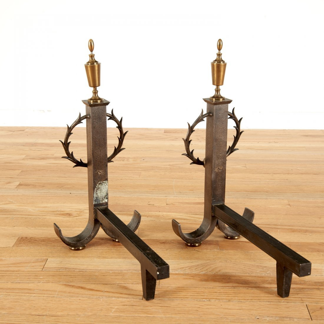 Pair Samuel Yellin style wrought iron andirons - 3