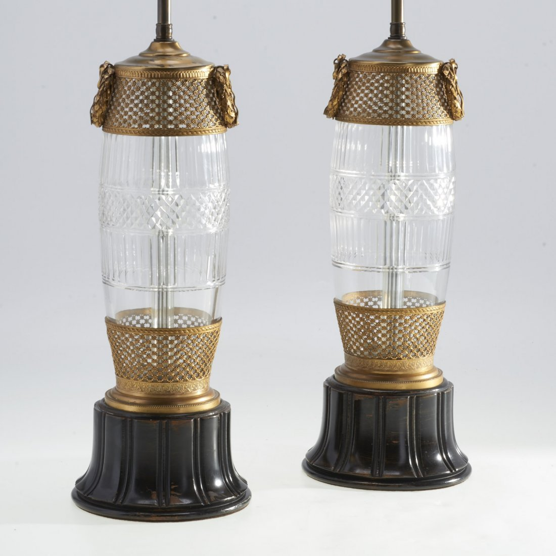 Pair Louis XVI style brass mounted cut glass lamps