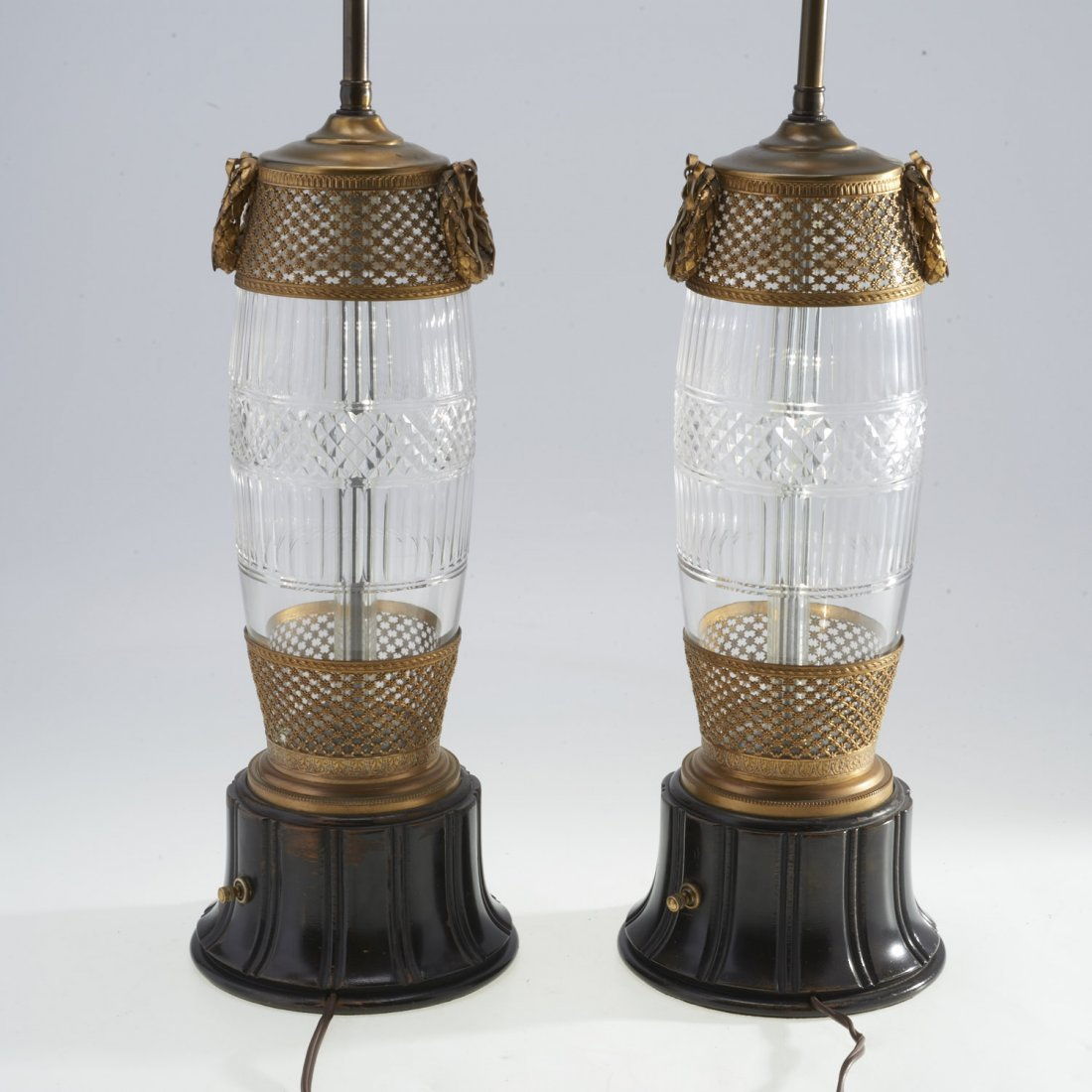 Pair Louis XVI style brass mounted cut glass lamps - 4