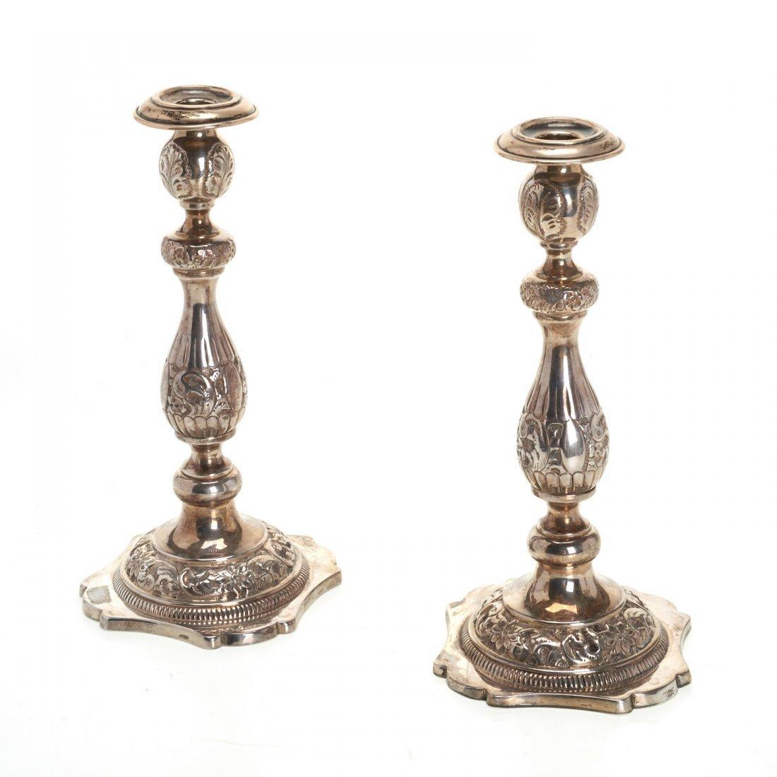 Nice pair Russian silver candlesticks