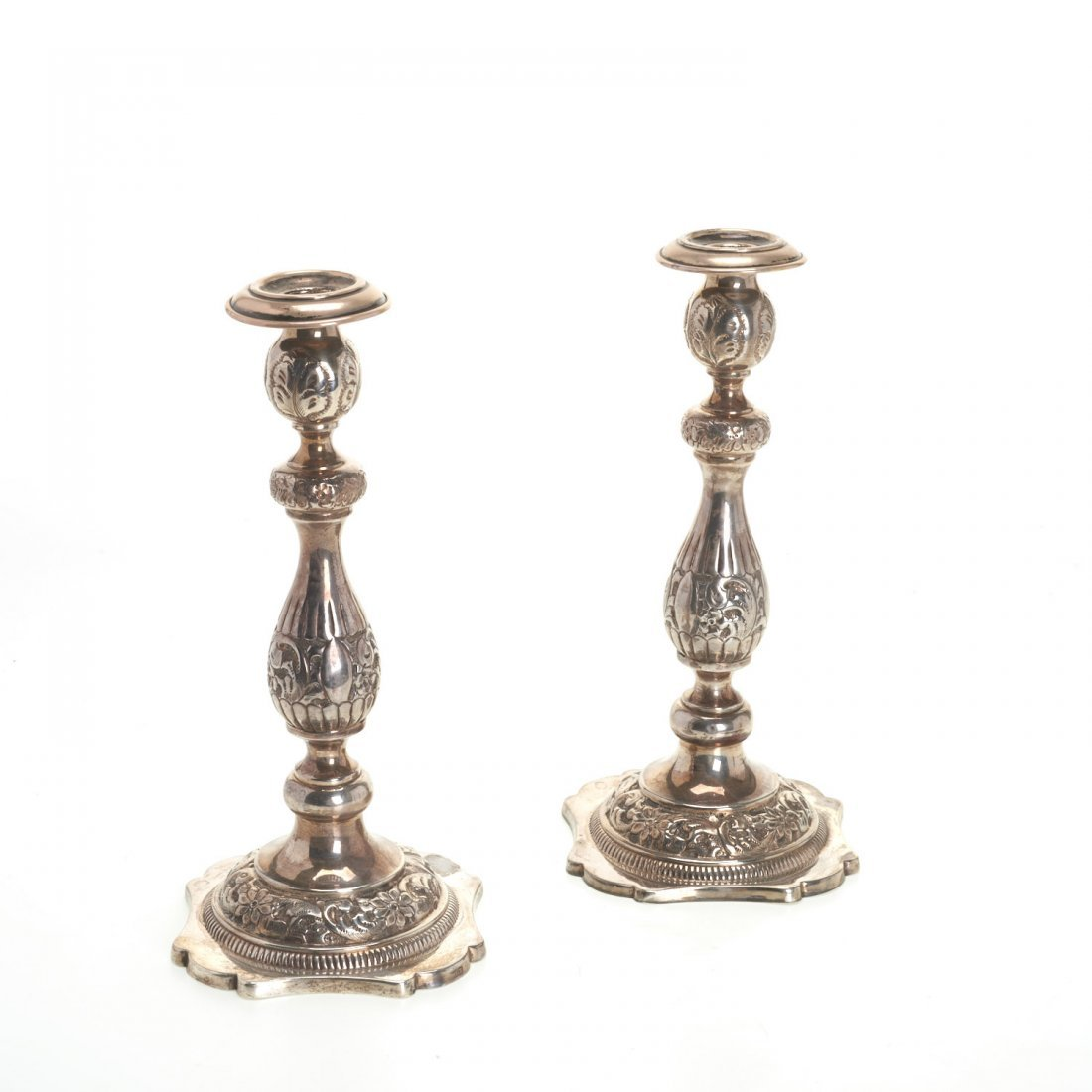 Nice pair Russian silver candlesticks - 2