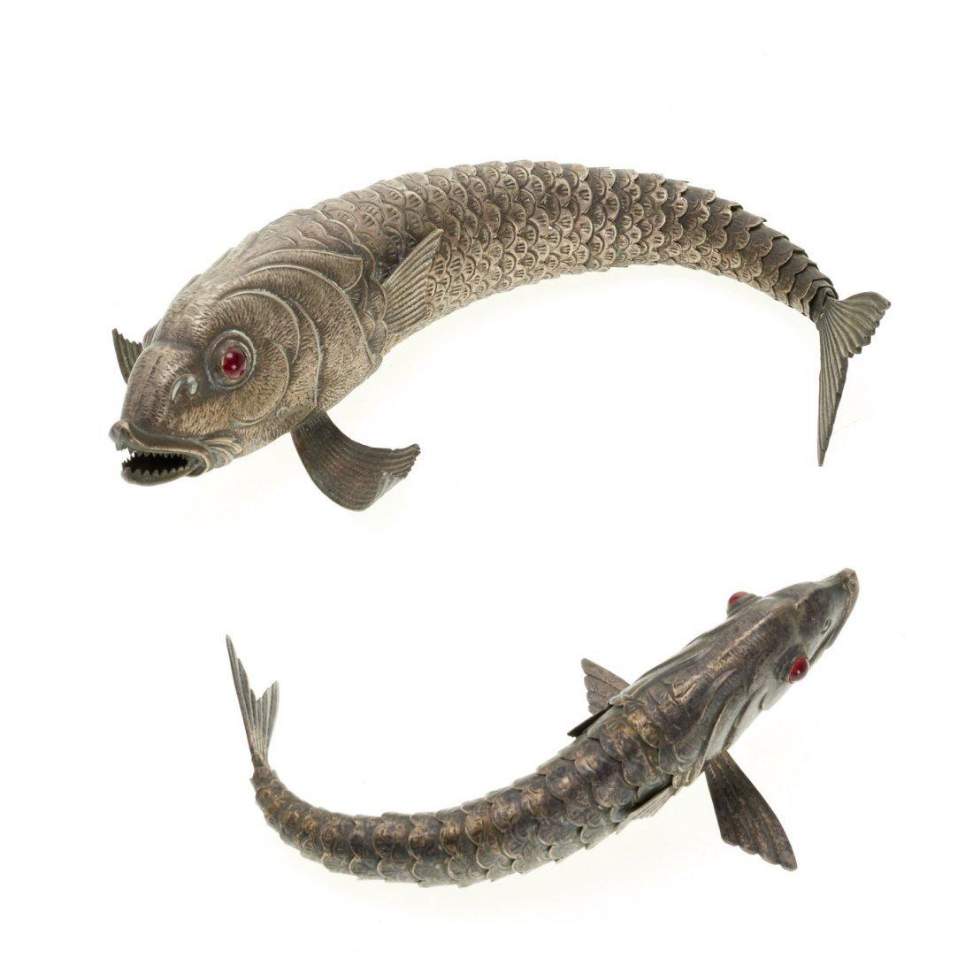 (2) Articulated alpaca alloy koi fish