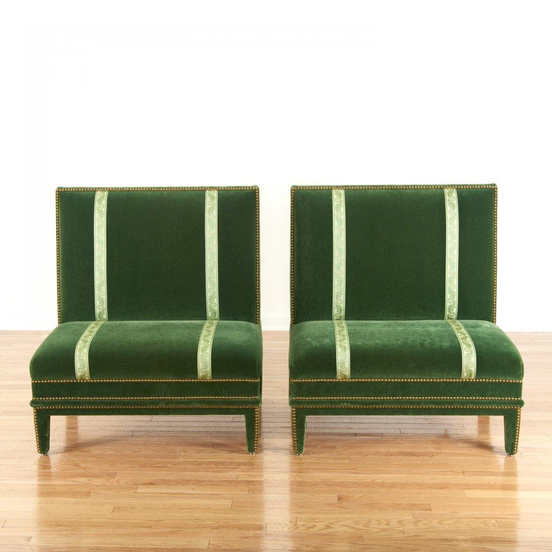 Pair Renzo Mongiardino style closed-nail velvet sofas