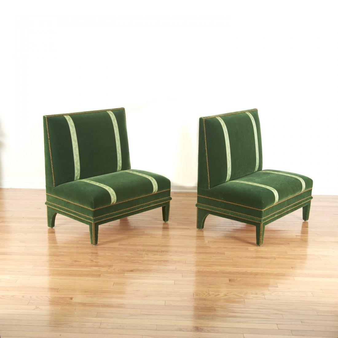 Pair Renzo Mongiardino style closed-nail velvet sofas - 2
