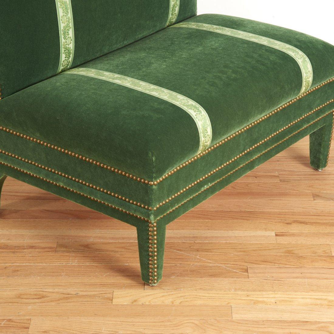 Pair Renzo Mongiardino style closed-nail velvet sofas - 3