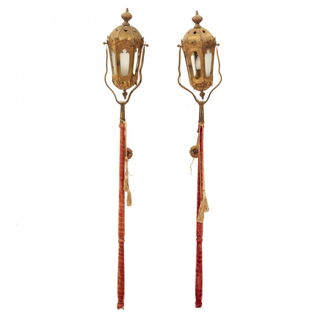 Pair Venetian gilt metal gondola pole lanterns