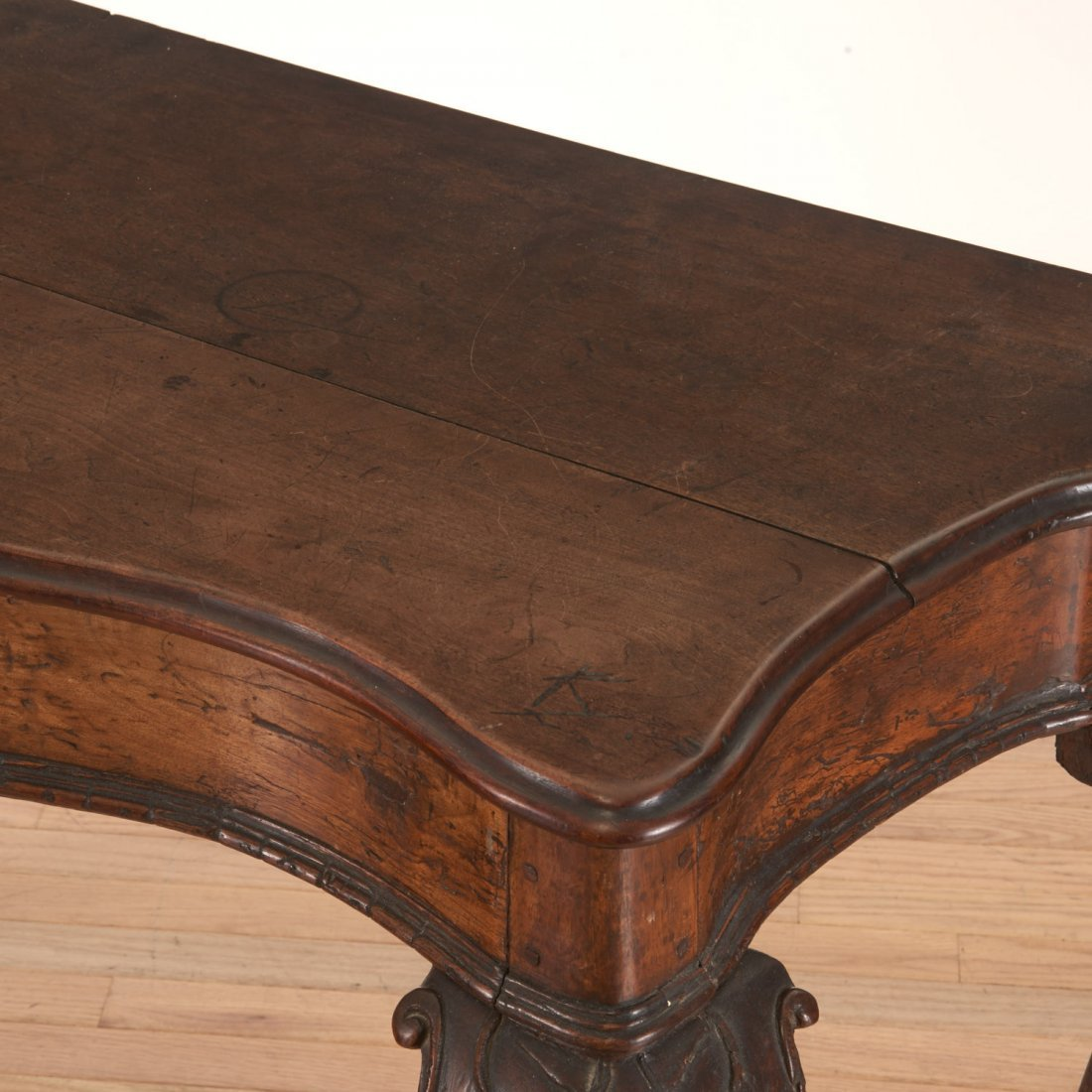 Antique Italian carved walnut console table - 4