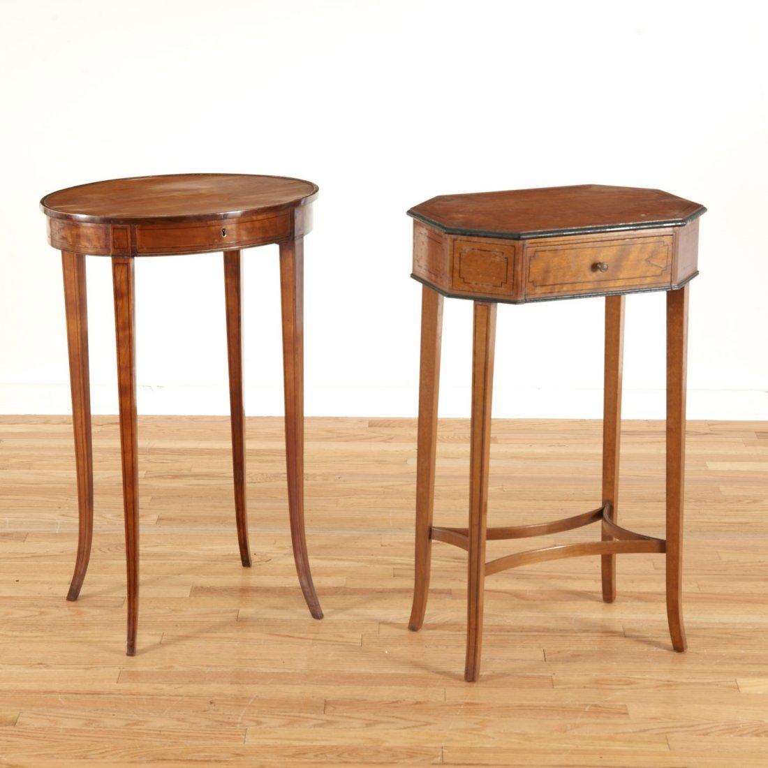 (2) Regency inlaid satinwood sewing stands