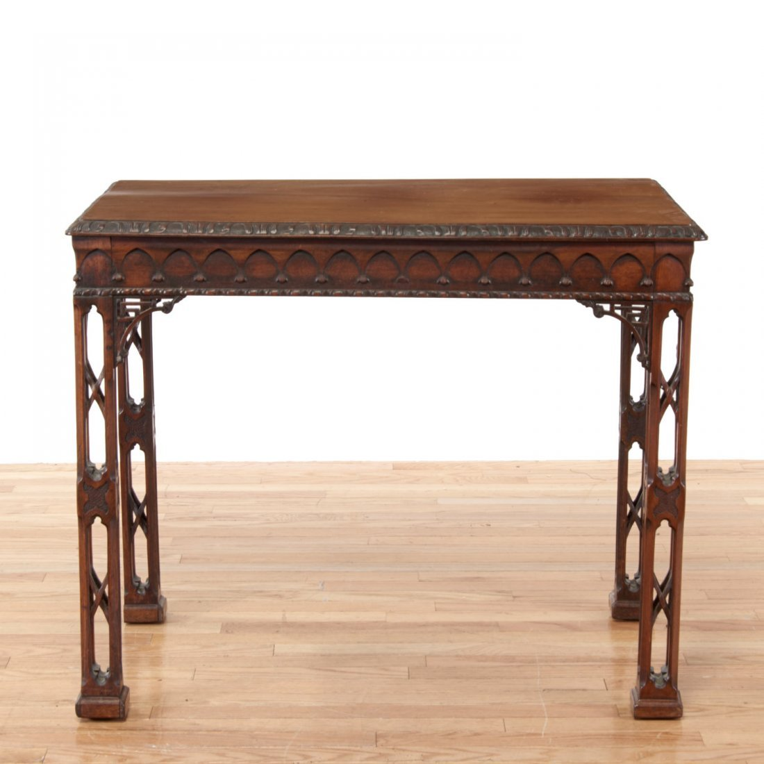 Gothic Revival carved mahogany side table - 2