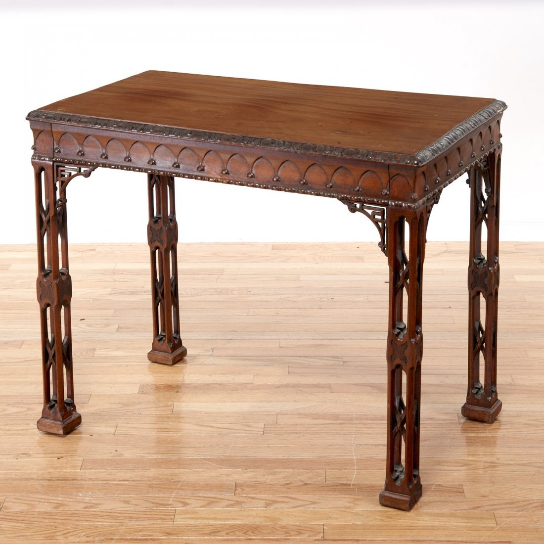 Gothic Revival carved mahogany side table - 5
